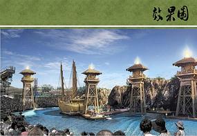 三国主题滨水舞台效果图