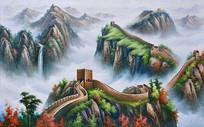 万里长城瀑布流水油画背景墙