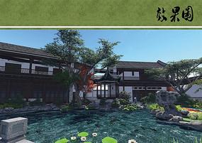 中式别墅水景庭院