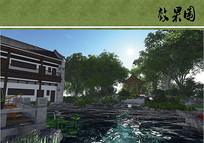 中式后院景观效果图