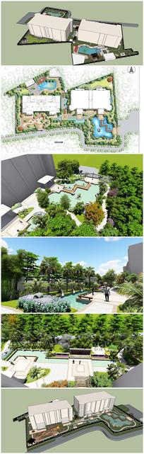别墅景观SU模型及效果图