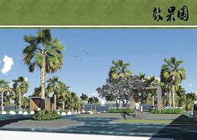 滨水景观设计透视图