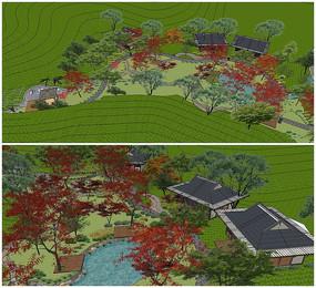 茶园景观民宿规划设计su模型