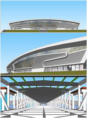 高铁站建筑设计方案SU模型