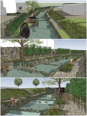 河道景观SU模型