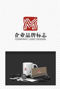 简洁品牌M企业标志设计
