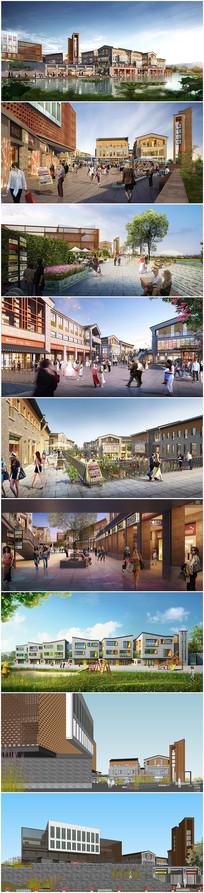 民国风商业街区建筑景观效果图