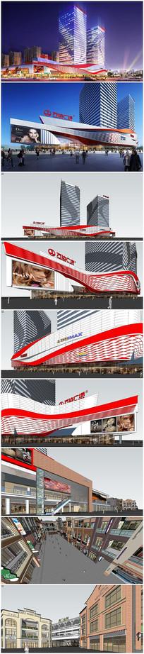 万达广场金街建筑模型效果图