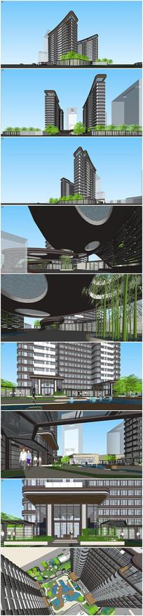 现代高层建筑景观设计su模型