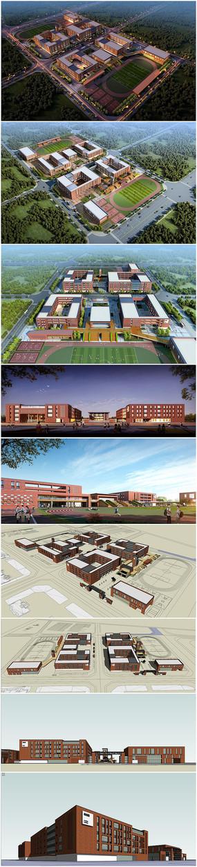 现代学校建筑景观模型效果图