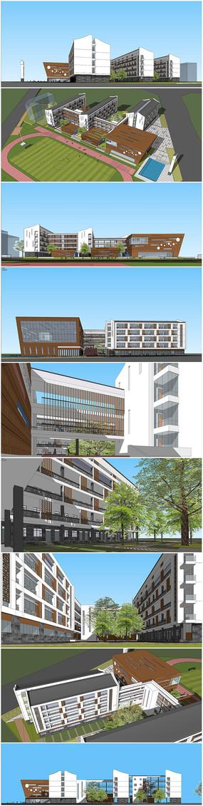 现代学校建筑设计方案su模型