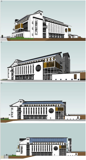 中式卫校食堂建筑方案SU模型