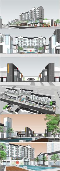 中式住宅小区建筑商业SU模型
