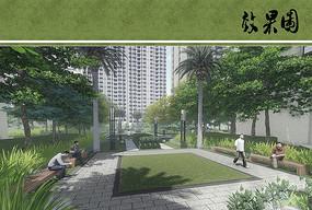 住宅区景观庭院效果图