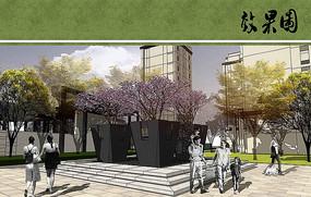 住宅区局部景观透视图 JPG