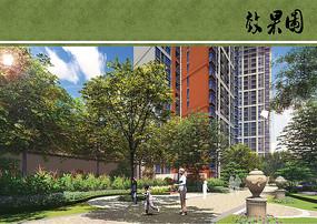 住宅区绿化景观效果图