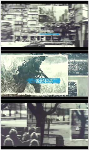 黑白回忆照片展示AE模板