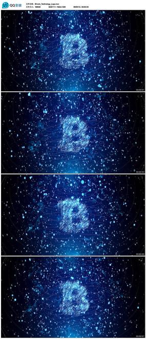 蓝色粒子比特币科技背景视频