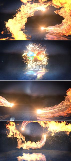 震撼火焰交汇标志展示ae模板