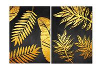 北欧风简约质感金色植物装饰画