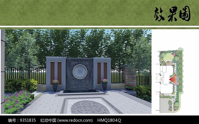 别墅庭院景墙效果图图片