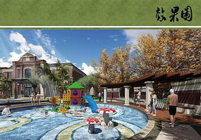 别墅住宅区泳池景观
