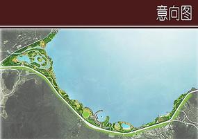 滨水沿岸景观彩平图