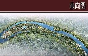 城市滨水规划整体鸟瞰