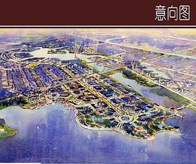 城市环水景观手绘效果图