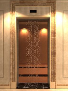 电梯厅门装潢玫瑰金不锈钢