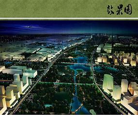东升城市公园夜景鸟瞰图