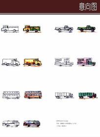 各种长款汽车手绘设计