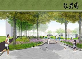 公园景观道路效果图