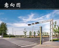红绿灯十字路口景观 JPG