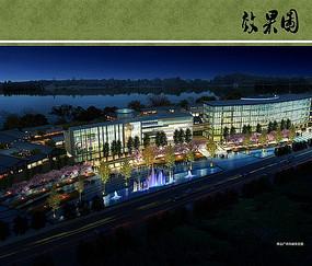 沱江公园商业广场夜景鸟瞰