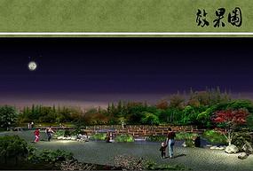 京杭大运河金山滨河公园夜景
