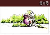 卡通垃圾桶手绘设计