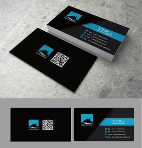蓝黑色商务名片