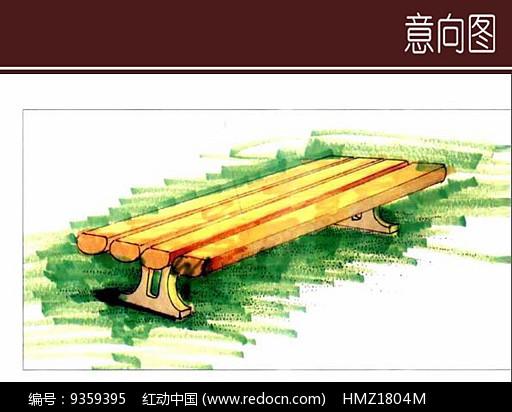 木质景观座椅手绘设计