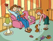 欧美风格快乐家庭生活儿童插画