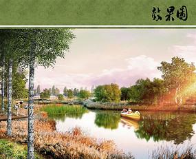 湿地公园黄昏效果图