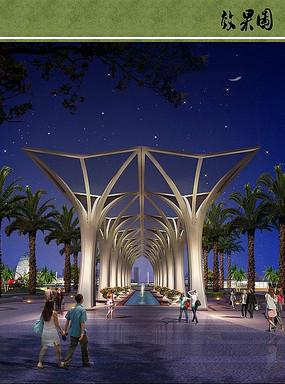 市民文化公园廊架夜景