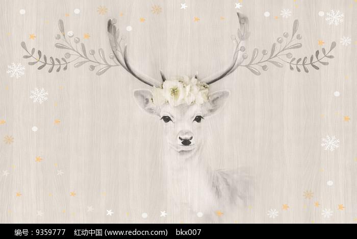 手绘水彩麋鹿电视背景墙