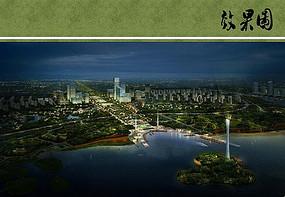 松雅湖生态公园夜景鸟瞰图