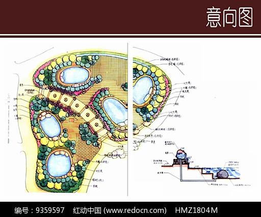 温泉池景观手绘平面图图片