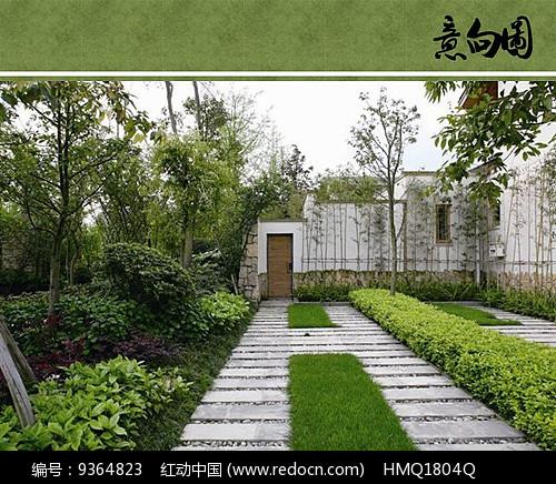 原创设计稿 方案意向 铺装 现代别墅庭院汀步图片