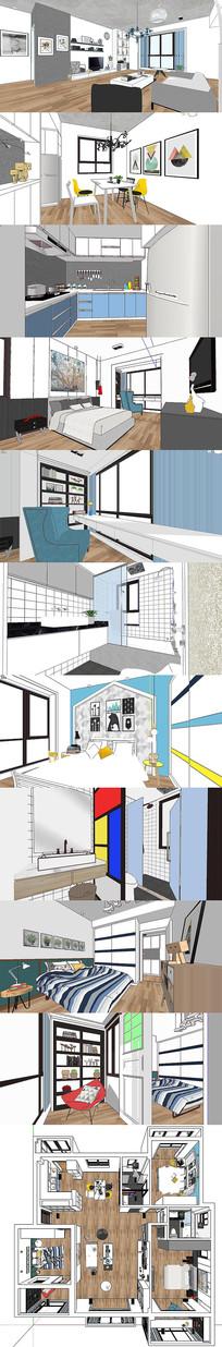 现代风格室内设计SU模型