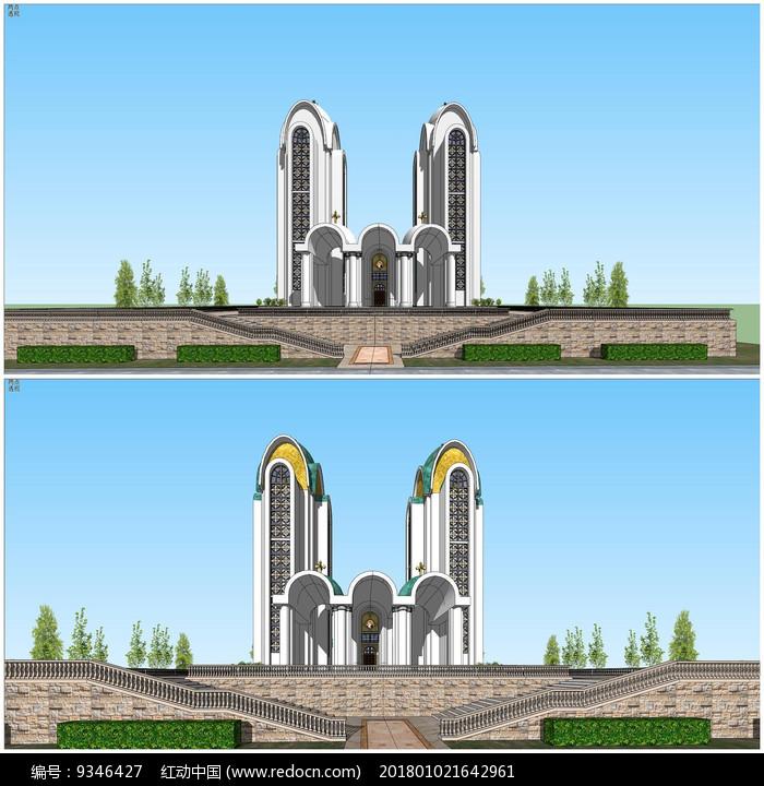 现代教堂建筑单体设计su模型