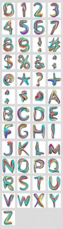 颜料画字母数字符号透明字