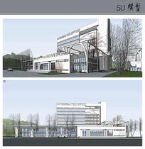 中式办公楼建筑su模型
